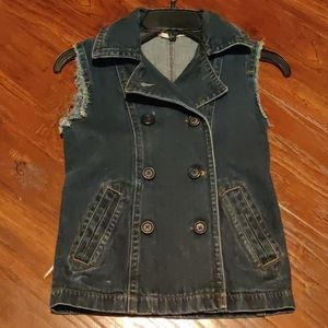 Double Breasted Sleeveless Blue Jeans Jacket